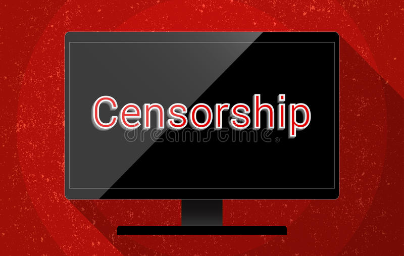 Censorship. Black LCD screen with caption 'Censorship' hanging on a red wall. Concept for censor of inappropriate content, media blackout and repression of stock illustration