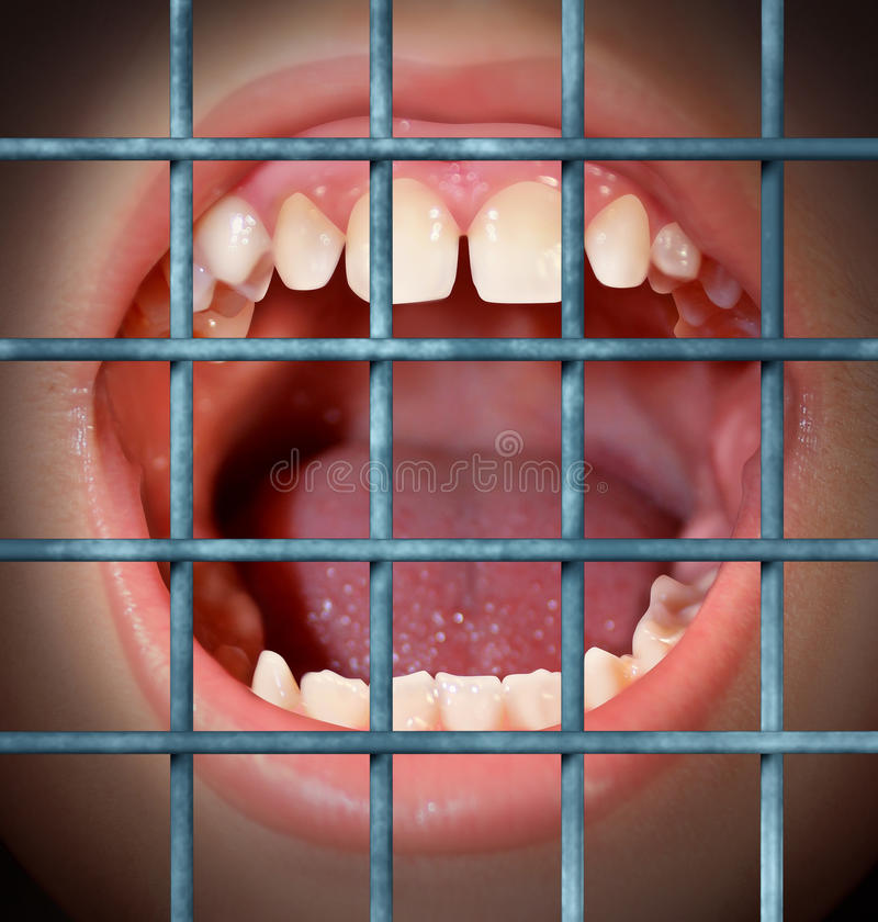 Censorship And Free Speech. Concept with a shouting or yelling human mouth behind prison bars as a symbol of a communication ban or banned from communication stock illustration