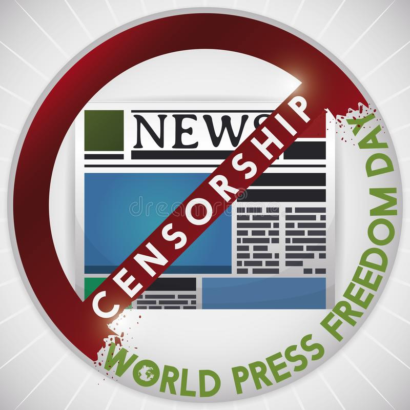 Censorship Signal Fading over Newspaper during World Press Freedom Day, Vector Illustration. Censorship signal fading before the newspaper as a gesture of speech vector illustration