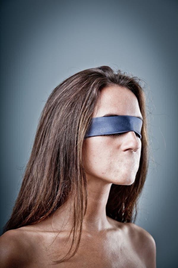 Censura da liberdade de expressão em uma mulher imagem de stock