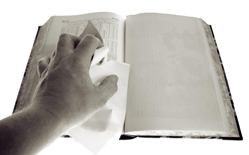 Censura da página em branco do livro fotografia de stock