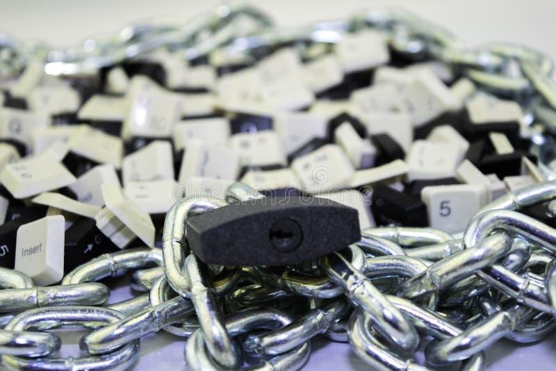 Censura, limitações e limitações no Internet conceito, chaves dos teclados de computador no espaço acorrentado e sob o fechamento fotos de stock royalty free