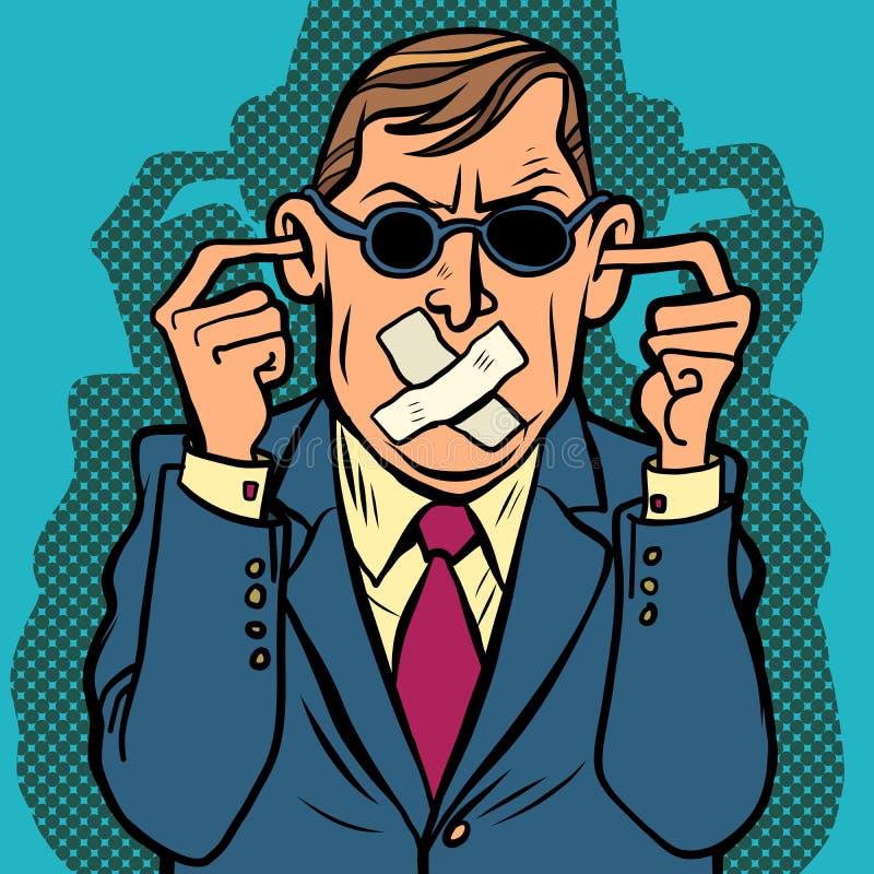 Censura sorda muda ciega del hombre libre illustration