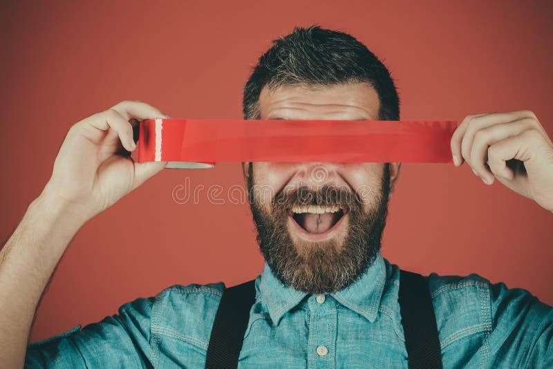 censuur Brutaal gebaard mannetje Burgerrechten Conceptenvrijheid van toespraak en pers Internationale Rechten van de mensdag meni stock foto's
