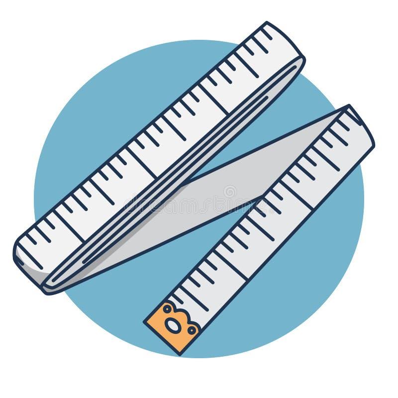 Cent?metro de costura de costura de las fuentes del ejemplo de la historieta de la cinta ilustración del vector
