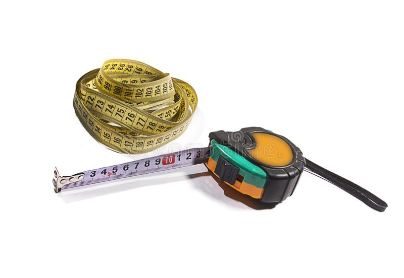 Centímetro, tesouras, linhas imagens de stock