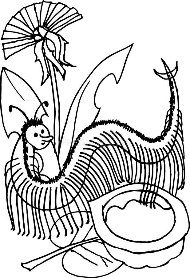 Centípede, ilustração preto e branco da versão para crianças foto de stock