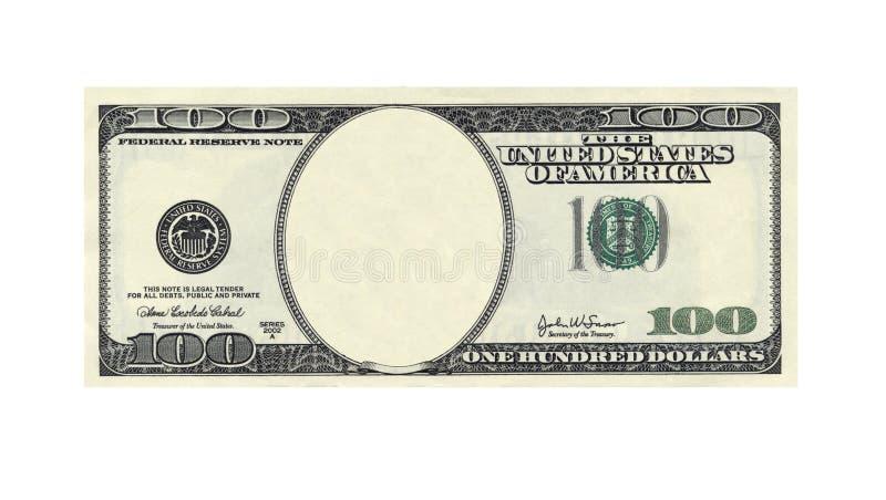 Cent billet d'un dollar sans le visage sur le blanc images stock