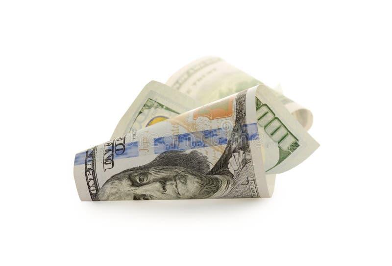 Cent billets d'un dollar d'isolement sur le fond blanc images stock