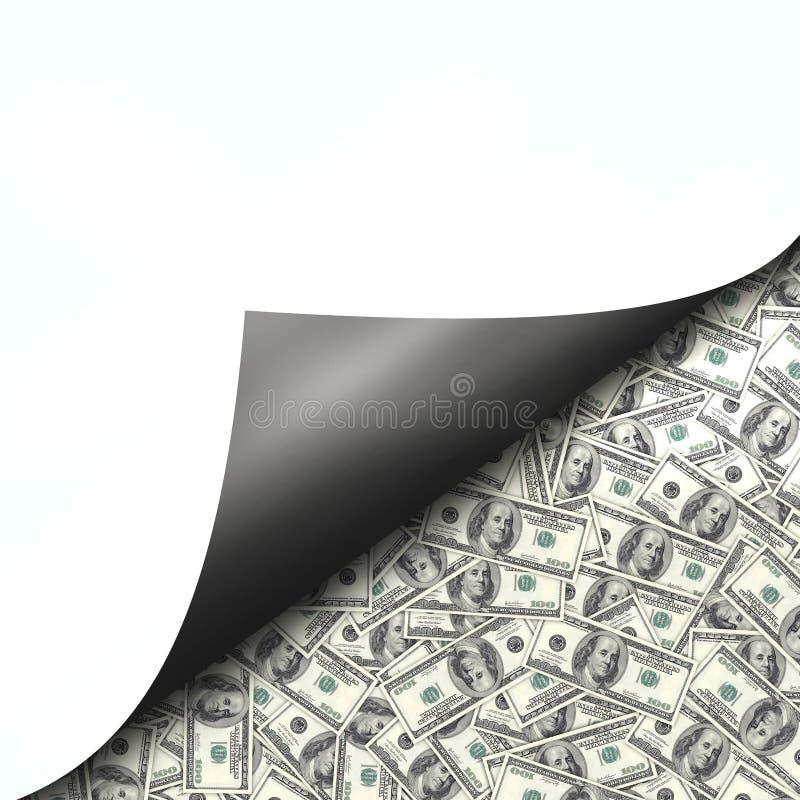 Cent billets d'un dollar derrière la page de curld images stock
