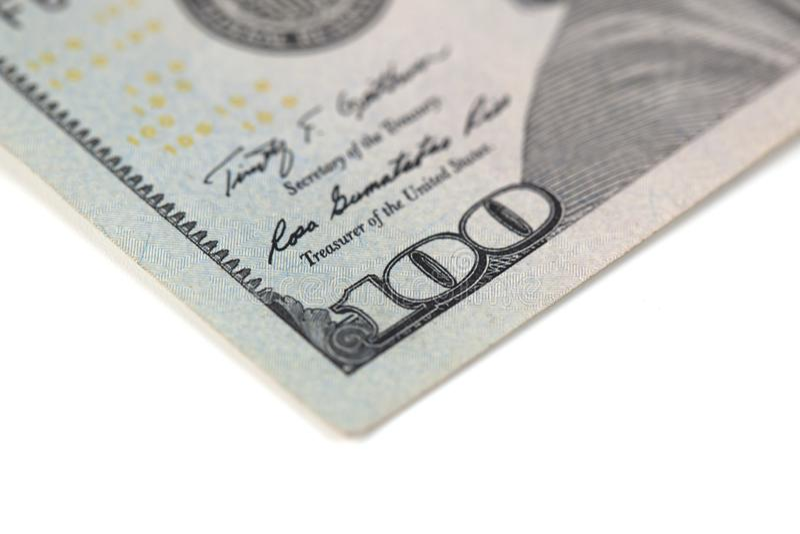 Cent billets d'un dollar, d'isolement sur le blanc photographie stock