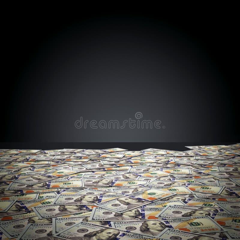 Cent billets de banque du dollar contre le mur noir Argent illustration stock