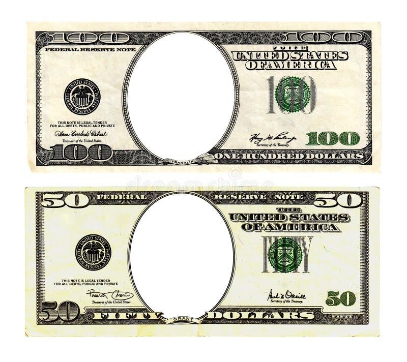 Cent billets de cinquante dollars sur le fond blanc images libres de droits