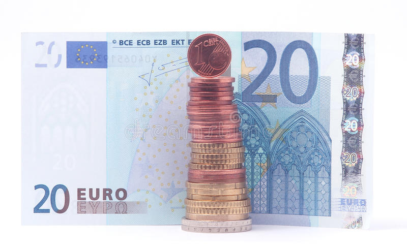 1 Cent Coin Standing On Top Of Stack Of Euro Coins Near 20 Euro Bank