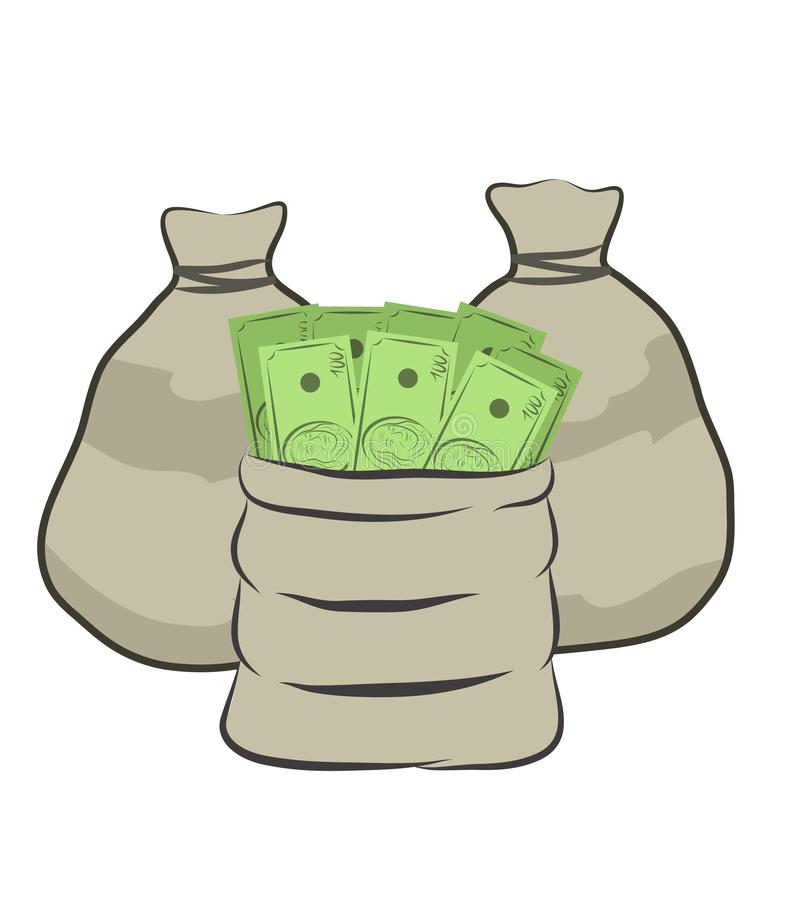 Cent dollars d'argent de sac de conception d'icône d'isolement sur le blanc, illustration courante de vecteur d'affaires illustration de vecteur