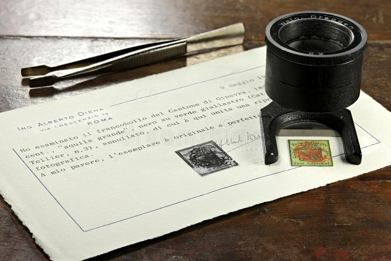 5 cent Genèvedistrikts-stämpel royaltyfri fotografi