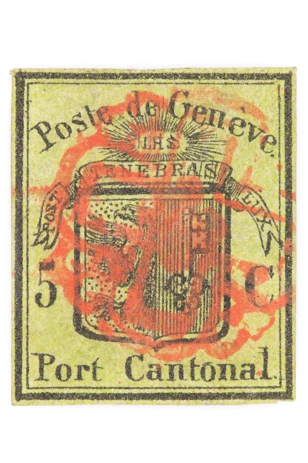 5 cent Genèvedistrikts-stämpel royaltyfria foton