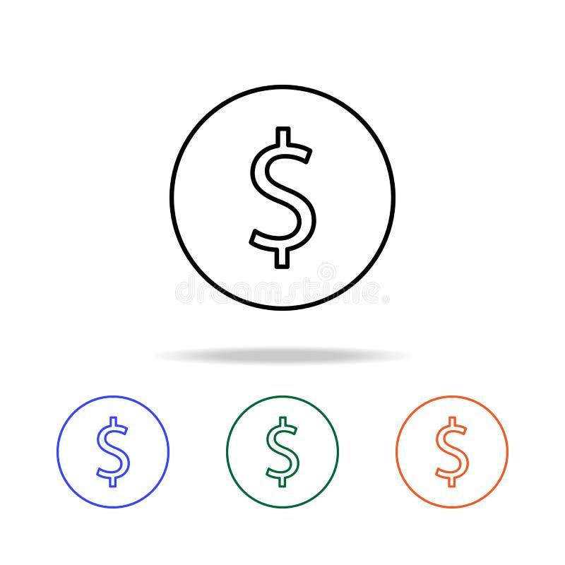 cent ikona Elementy prosta sieci ikona w wielo- kolorze Premii ilości graficznego projekta ikona Prosta ikona dla stron interneto ilustracji