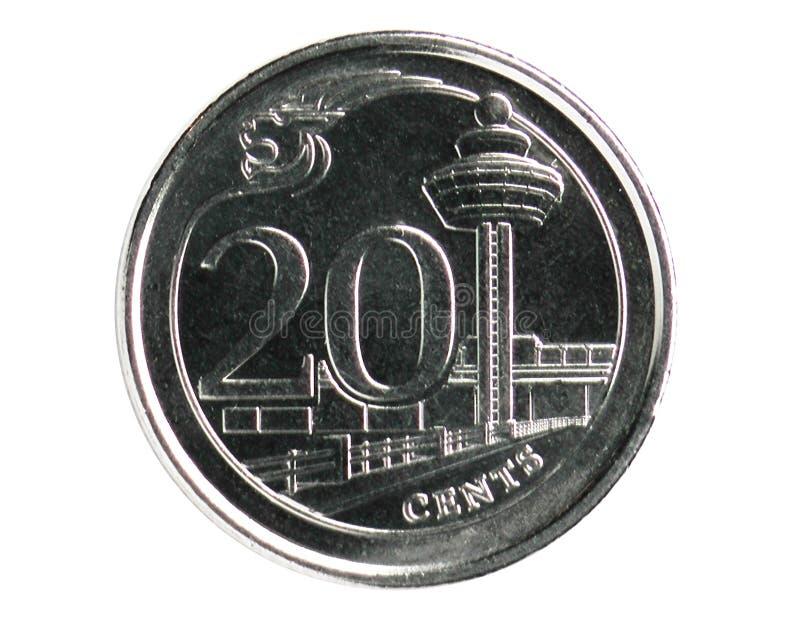 20 cent mynt, 2013~Today - cirkulation - 3rd serie, bank av Singapore arkivbilder
