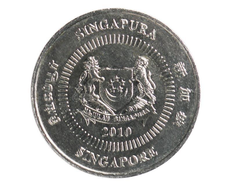 50 cent nedåt bandmynt, 1985~2012 - cirkulation - 2nd serie, bank av Singapore royaltyfria bilder