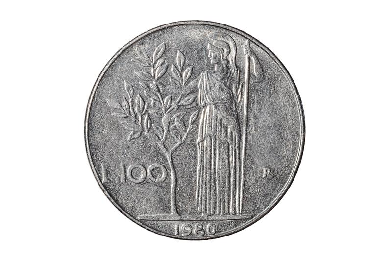 Cent pièces de monnaie de Lire italienne images libres de droits