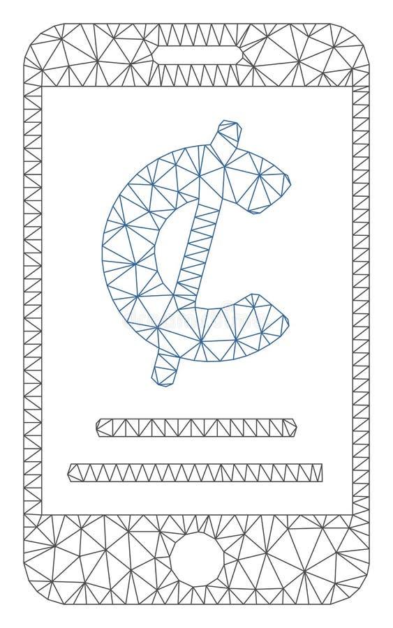 Cent siatki Mobilna Płatnicza Poligonalna Ramowa Wektorowa ilustracja ilustracja wektor