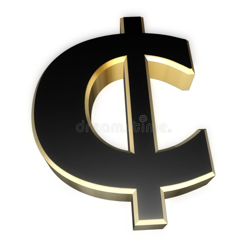 Cent sign. Gold and black paint cent sign. Perspective view royalty free illustration