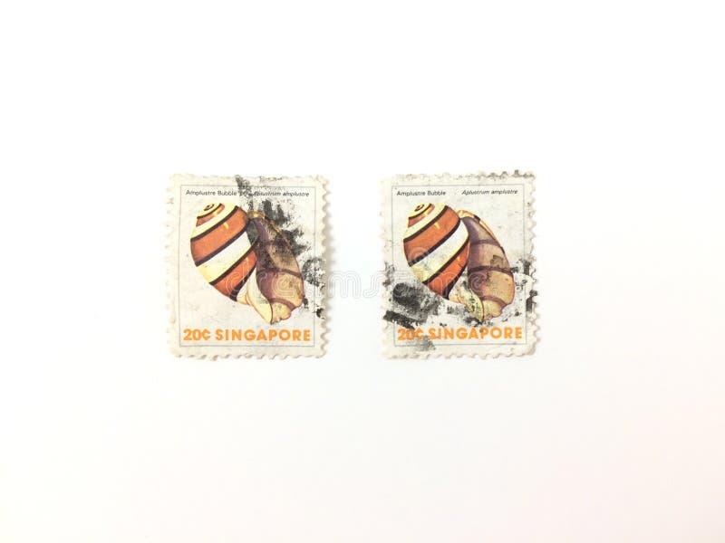 20 cent Singapore gebruikte postzegel Amplustre Bubble stock foto