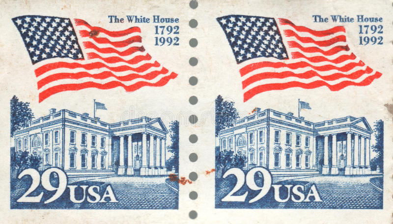 29 Cent USA First Class Postage Stamp White House 1992. Double United States of America First Class stamp featuring the American flag and The White House. 200 stock photography