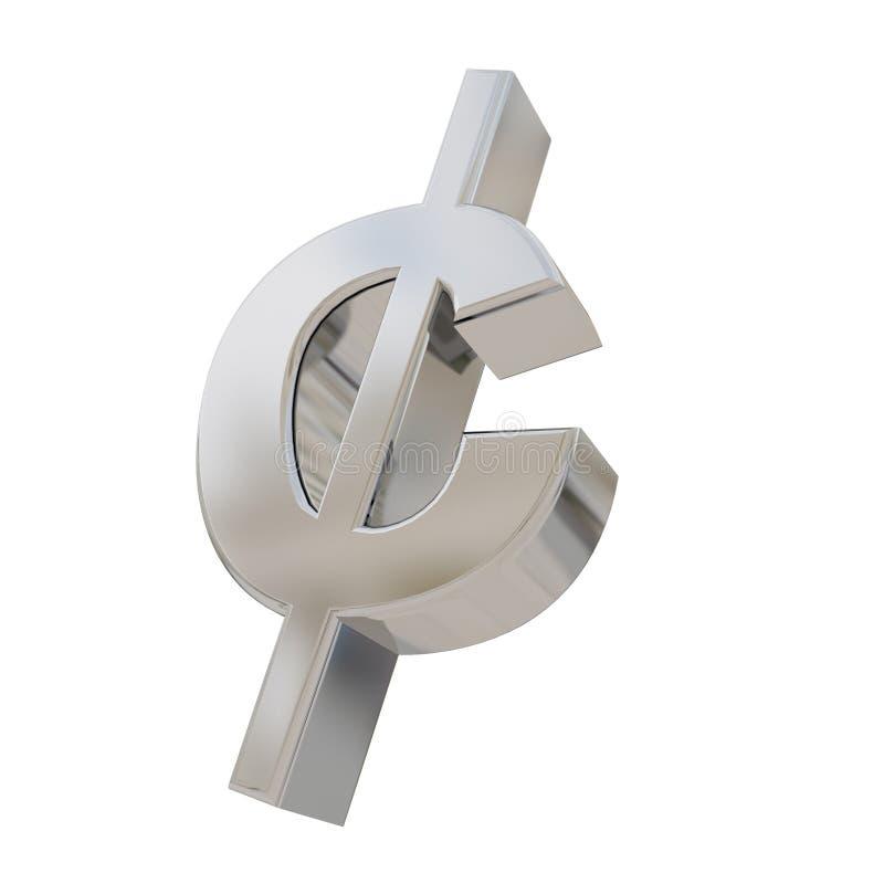 Cent waluty srebny symbol odizolowywający na bielu ilustracji