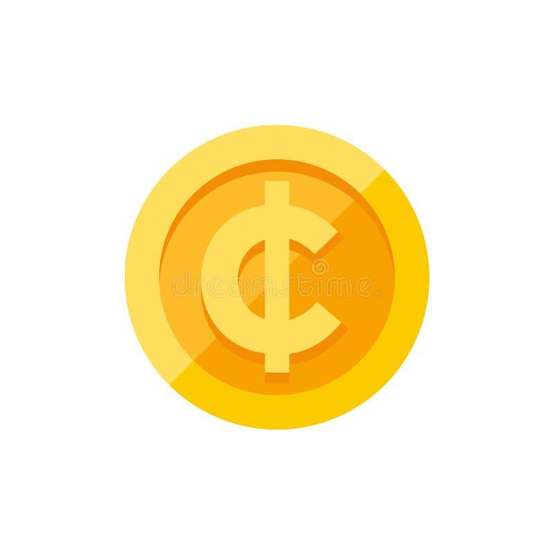 Cent waluty symbol na złocistej monety mieszkania stylu ilustracja wektor