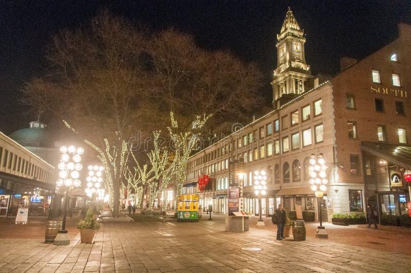 Cental Boston bij Nacht royalty-vrije stock foto