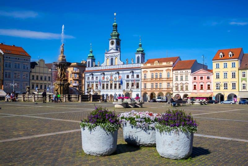 Cental rynek Ceske Budejovice, republika czech zdjęcie royalty free