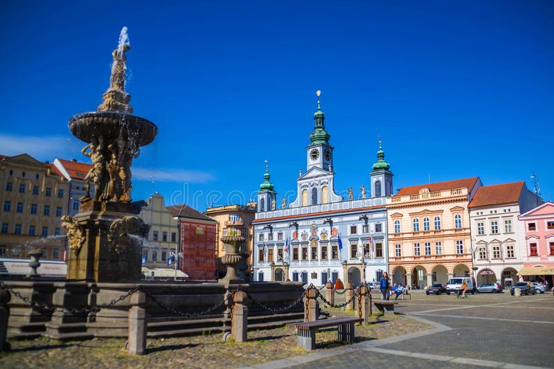 Cental town square of Ceske Budejovice, Czech republic. June 18, 2017 royalty free stock photos
