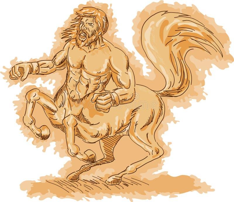Centaur arrabbiato che si eleva in su illustrazione vettoriale