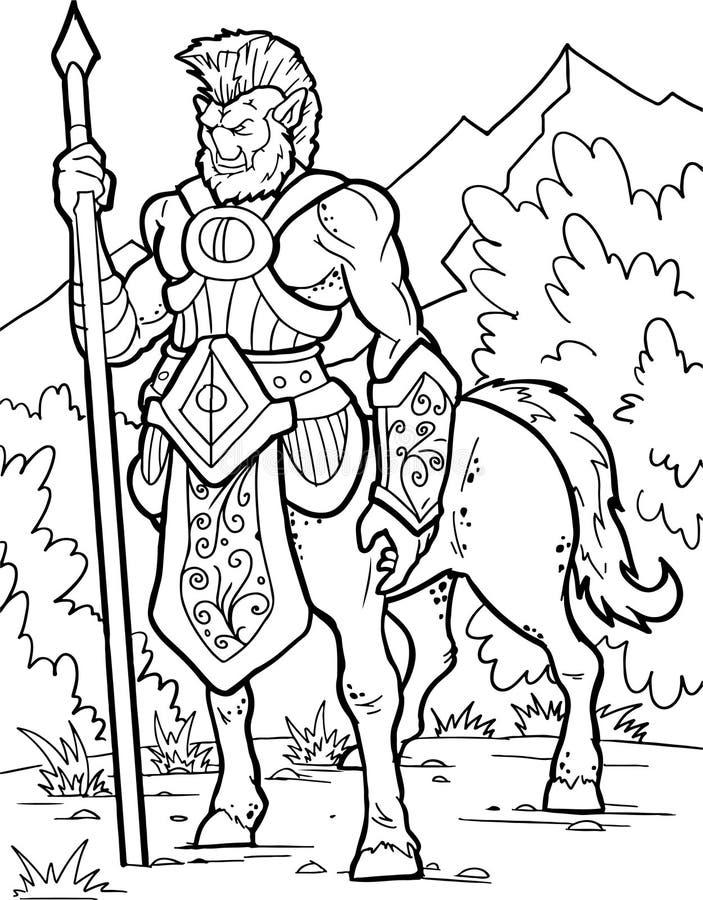 Centaur Guerriero umano con il corpo del cavallo Raccolta magica delle creature di fantasia Illustrazione disegnata a mano Linea  illustrazione di stock