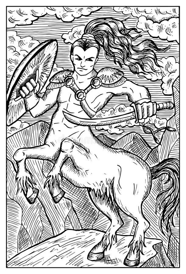 Centaur Illustrazione incisa di fantasia illustrazione di stock