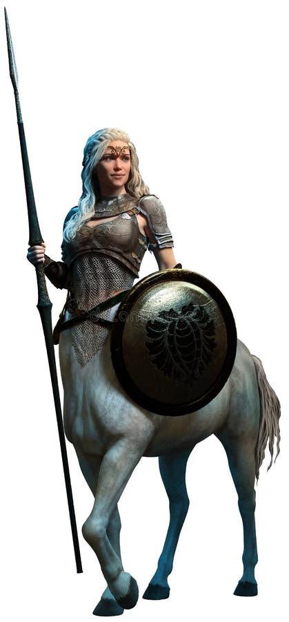 Centaur 3D illustration. Centaur woman with lance 3D illustration vector illustration