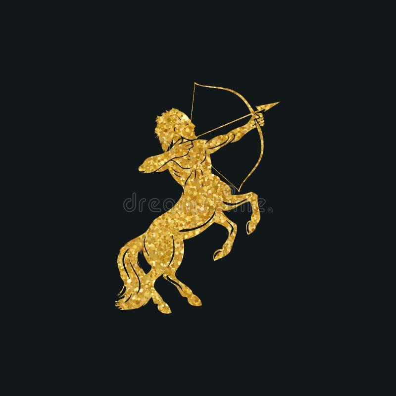 Centaura pojęcie mitycznej centaur łuczniczki mężczyzna koński charakter z strzała i łękiem ilustracji