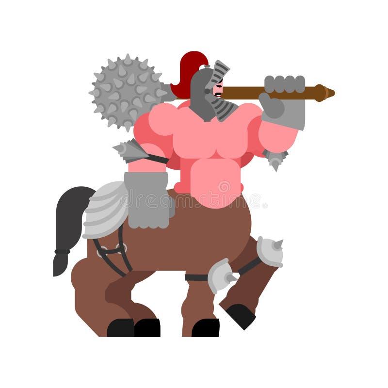 Centaure dans l'armure Demi cheval de moitié-homme puissant Monstre mythique illustration de vecteur