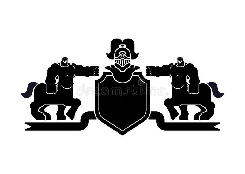 Centauro do protetor e cavaleiro heráldicos Helmet Animais fantásticos Tem ilustração do vetor