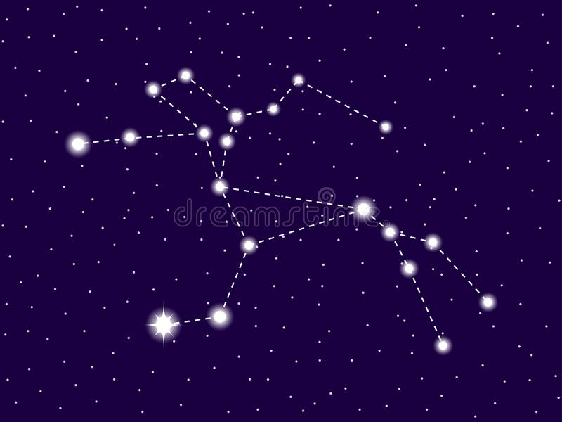 Centaurus constellation. Starry night sky. Zodiac sign. Cluster of stars and galaxies. Deep space. Vector. Illustration stock illustration