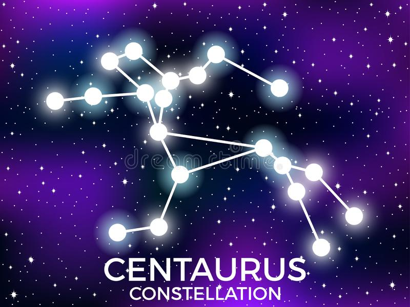 Centaurus constellation. Starry night sky. Zodiac sign. Cluster of stars and galaxies. Deep space. Vector. Illustration royalty free illustration