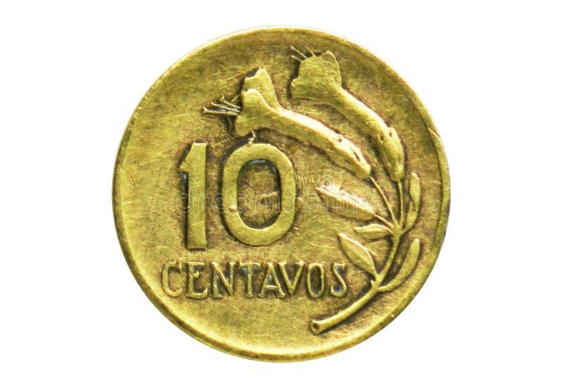 10 centavi coniano, contano del Perù Complemento, edizione 1967 fotografie stock libere da diritti