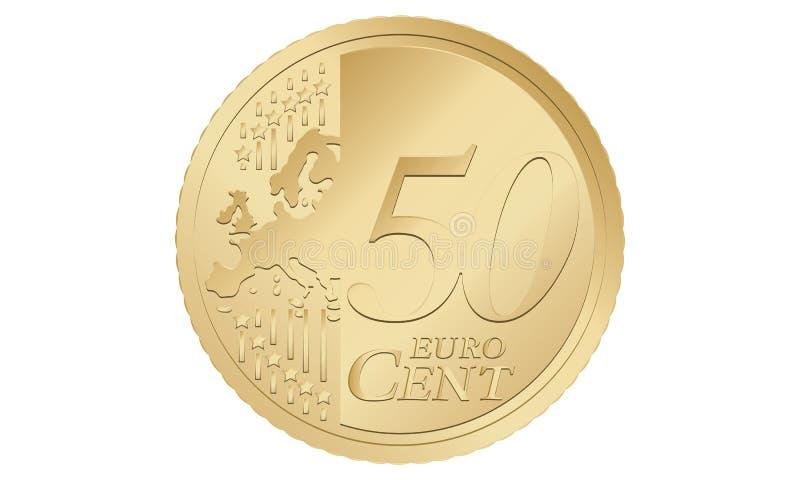 centavo do euro 50 ilustração do vetor