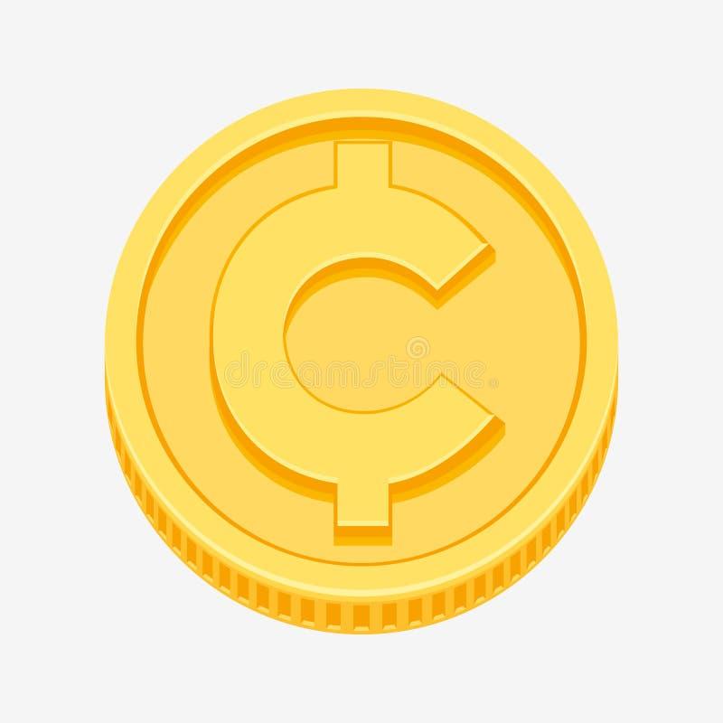 Centavo, símbolo de moeda do centavo na moeda de ouro ilustração do vetor