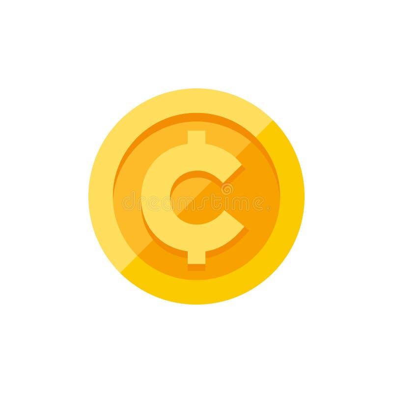 Centavo, símbolo de moeda do centavo no estilo liso da moeda de ouro ilustração stock