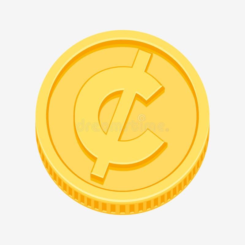 Centavo, centavo, símbolo de moeda do peso na moeda de ouro ilustração do vetor
