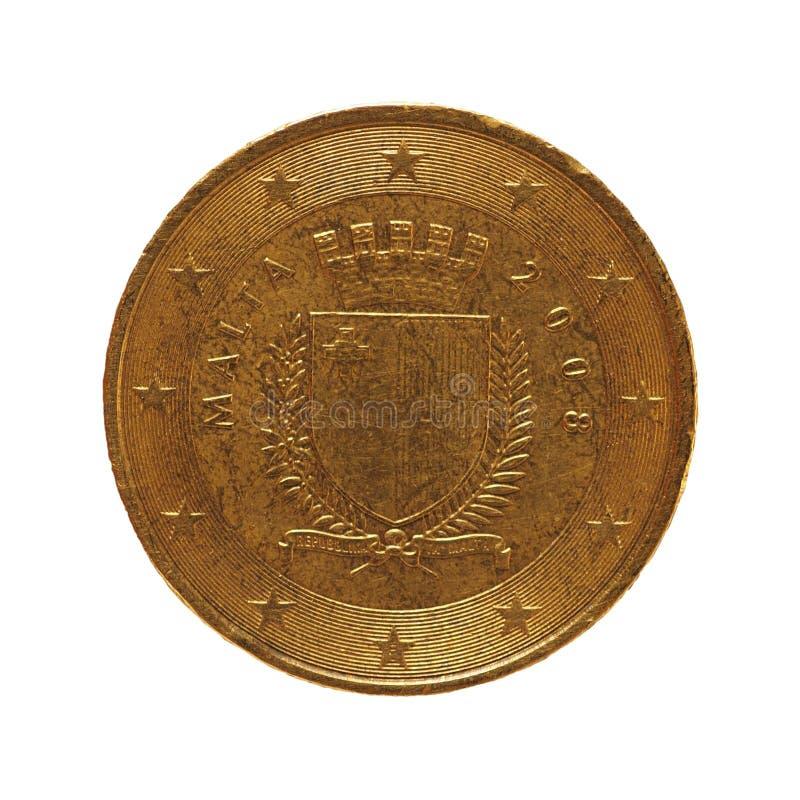 50 centavos acuñan, unión europea, Malta aislaron sobre blanco imagenes de archivo