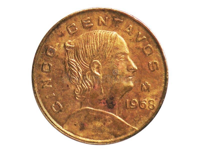5 Centavos-muntstuk, 1905~1992 - de Omloop van Estados Unidos Mexicanos serie, Bank van Mexico stock afbeeldingen